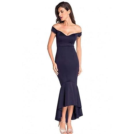 KAIDILA Vestido de Sirena Vestido de Noche de Jersey Traje Sujetador detrás con Sirena de Hombro