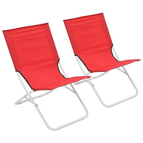 vidaXL 2X Sillas de Playa Plegables Rojo Asiento Banco ...