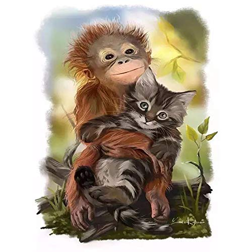 (Moligh doll 5D DIY Diamond Painting Monkey Animal Full Round Diamond Embroidery Cross Stitch Diamond Wall Painting)