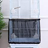 POPETPOP Bird Cage Cover Stretchy Seed Catcher Birdcage Nylon Mesh Net Cover Skirt Guard (Black)