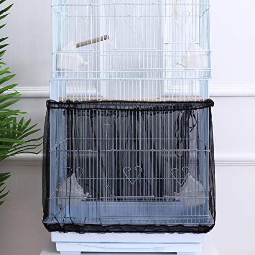 POPETPOP Bird Cage Cover Seed Catcher Birdcage Nylon Mesh Net Cover Skirt Guard (Black)