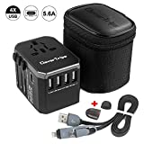 CleverTrips Universal Travel Power Adapter All in One Worldwide International Wall Charger AC Plug Adaptor with 5.6A Smart Power USB and 3.0A USB Type-C For USA EU UK AUS Phone Tablet Laptop (Black)