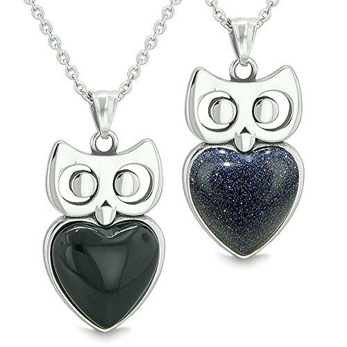 - Amulets Owl Cute Hearts Love Couples Set Simulated Black Onyx Blue Goldstone Pendant Necklaces