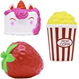 Jumbo Squishies Gift Pack (3-Piece Set) Scented Kawaii Unicorn Cake Animal, Strawberry, Popcorn | Slow-Rising, Colourful Squeeze Toy| Cute Squishy Toys for Girls, Boys, Teens, Prime | Ages 6+