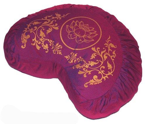 Meditation Cushion Crescent Zafu - Lotus Enlightenment - Magenta