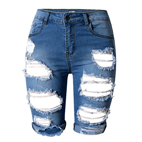 Zhhlaixing Donna Fashion Cool Street Style High Waist Slim Denim Shorts Summer Middle Jeans Blue