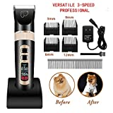 Dog Grooming Clippers 3-Speed Professional Rechargeable Cordless Electric Pets Clippers&Hair trimmer Tool Kit/Set for Thick Coats Dogs/Cats/Horses with LED Screen Indication Intelligent Protection