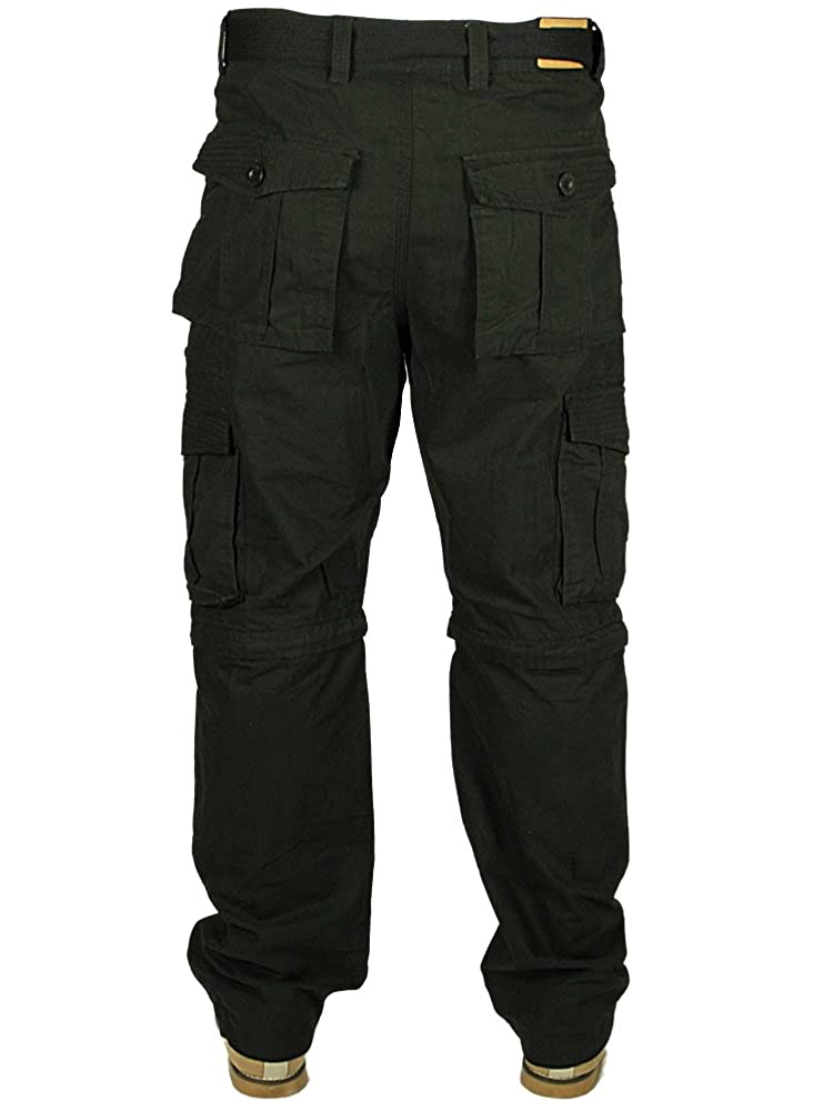 abe44af7cd Kam Mens 2 in 1 Trousers to Shorts Casual Cargo Combat Pockets Pants in  Black Free Belt 28-60: Amazon.co.uk: Clothing