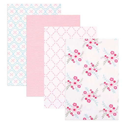 Floral Receiving Blankets (Luvable Friends 4 Piece Flannel Receiving Blankets, Floral)