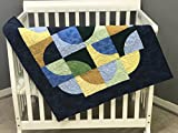 Baby Boy Quilt in bright blues, yellows and green. Handmade, One of a kind. Custom colors available. Made with 100% cotton fabric. 36'' x 43.''
