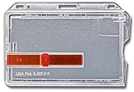 Waizmann.IDeaS/® Kartenh/ülle Kartenhalter Ausweishalter Namensschild f/ür 2 Karten aus Hartplastik HORIZONTAL TRANSPARENTER AUSSCHIEBER