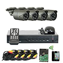 GW Security 4 Channel 1300TVL Outdoor / Indoor 1.0MP HD 720P Video Security Camera System, Quick QR Code Smartphone Access