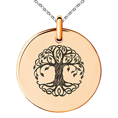 Celtic Circle Life (Rose Gold Plated Stainless Steel Celtic Knot Tree of Life Symbol Engraved Small Medallion Circle Charm Pendant Necklace)