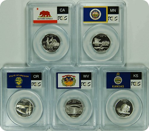 - 2005 S California, Minnesota, Kansas, West Virginia, and Oregon Silver Statehood Quarter DCAM PCGS PR-70