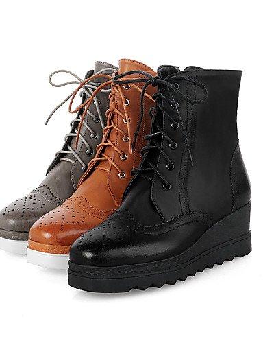 Xzz Redonda Eu36 Vestido Zapatos Cn39 Punta Negro Gris De Uk6 Gray Marrón Eu39 Mujer Cn36 us8 Anfibias Semicuero Plataforma Botas Casual Brown us6 Uk4 8x84rw10q
