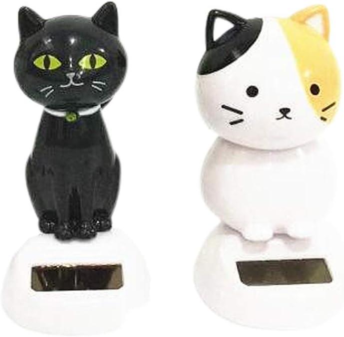 LIOOBO 2PCS Solar Powered Dancing Toy Cat Bobbling Dancing Toy Dashboard Desktop Ornament Interior Decoration