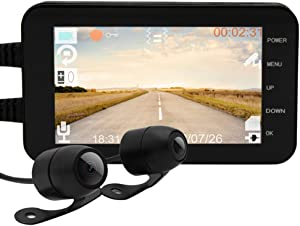 YUHUANG Motorcycle New Car Recorder, WiFi 1080P Waterproof Camera 4 Inch Motorcycle DVR Front Rear Dual Lens Driving Recorder Sprint Car Motorcycle