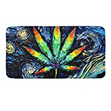 CIGOCI Luxurious Bathroom Rug Plush Texture Non-Slip High Absorbent Shower Rugs 18 x 36 Inch, Weed Van Gogh's Starry Sky Home Decor for Living Room Bedroom Kitchen Door Mat