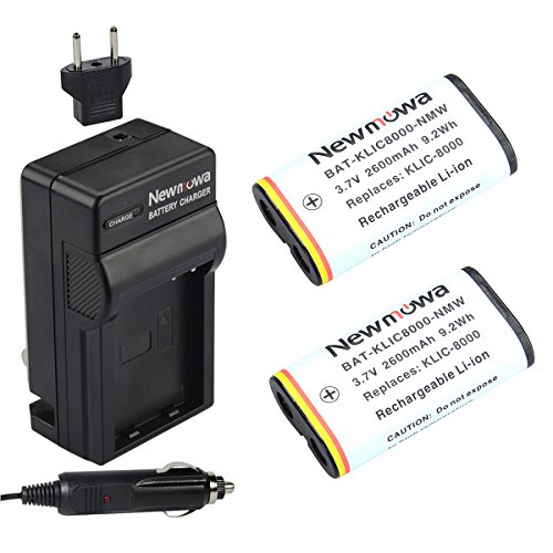 Newmowa KLIC8000 Battery (2-Pack) and Charger kit for Kodak Z1012 IS, Z1015 IS, Z1085 IS Z1485 IS, Z612, Z712 IS, Z812 IS, Z8612 IS by Newmowa