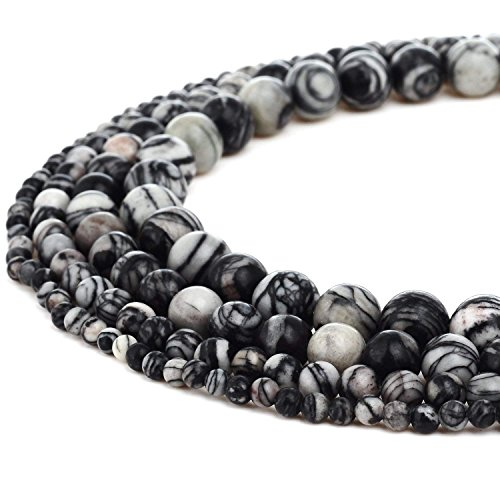 6mm Round Black White Zebra Jasper Beads Loose Gemstone Beads for Jewelry Making Strand 15 Inch (63-66pcs)