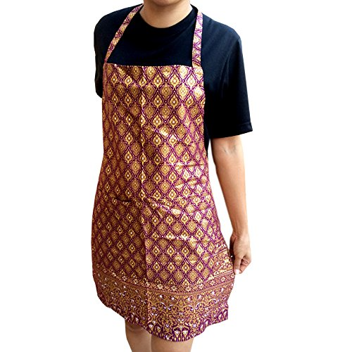 Purple - Thai Luxury Apron with Convenient Pocket Kitchen and Cooking by Patarisa