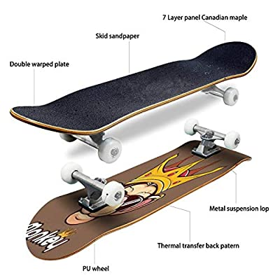 Classic Concave Skateboard Monkey King Head Glasses Mascot Longboard Maple Deck Extreme Sports and Outdoors Double Kick Trick for Beginners and Professionals : Sports & Outdoors