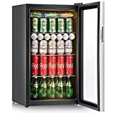 Costway 120 Can Beverage Refrigerator and Cooler Mini Fridge with Glass Door for Soda Beer or Wine Small Drink Dispenser Machine for Office or Bar (120 Can with yellow light)