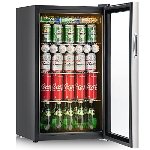 Costway 120 Can Beverage Refrigerator and Cooler Mini Fridge with Glass Door for Soda Beer or Wine Small Drink Dispenser Machine for Office or Bar (120 Can with yellow light) Review