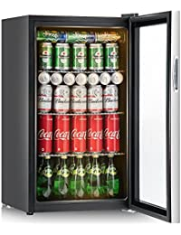 Costway 120 Can Beverage Refrigerator and Cooler Mini Fridge with Glass Door for Soda Beer or Wine Small Drink Dispenser Machine for Office or Bar