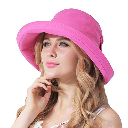 CACUSS Women's UPF 50+ Foldable Linen/Cotton Hat Big Brim with Big Bowknot and Inner (Large Rose Sun Hat)