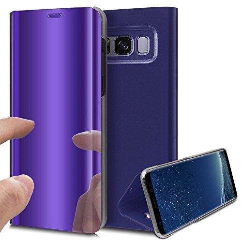 S8 Plus Galaxy Cover, Mirror Cover For Samsung Galaxy Plus S8, Gold Ekakashop Bright Pink Star Luxury Pu Leather Flip Cover Ultra Thin Transparent Protective Shell Magnetic Closure With Purple Stan