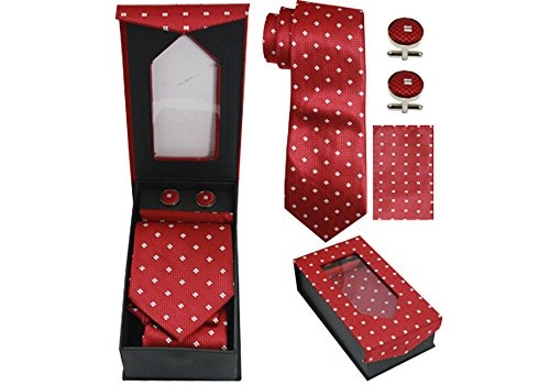 Designer Diamond Cufflinks (Designer Necktie, Cufflink, Handkerchief Set - Classy Solid, Striped, Dot Patterns (Diamonds on Red))