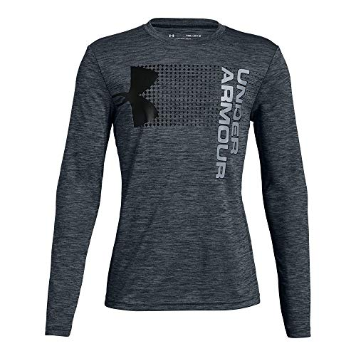 Under Armour Boys' Crossfade Long Sleeve Shirt, Stealth Gray (008)/Black, Youth Large