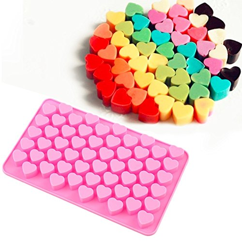 New Arrival 55-Cavity Mini Heart Silicone Cake Mold Chocolate Fondant Jelly Cookie Muffin Ice Tray Mould Flexible Moulds Cupcake Bake Tools Small (Pink)