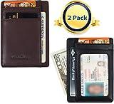 Minimalist Wallet for Men 2 Pack Slim Leather Wallet RFID Blocking - 5 Colors (1 Black + 1 Brown)