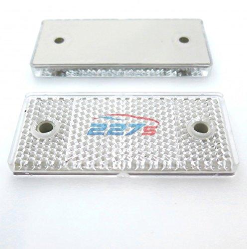 Lot de 2 bandes réfléchissantes rectangulaires blanches, support à vis, 69mm x 31,5mm, Remorque Gatepost support à vis 69mm x 31 5mm 227s