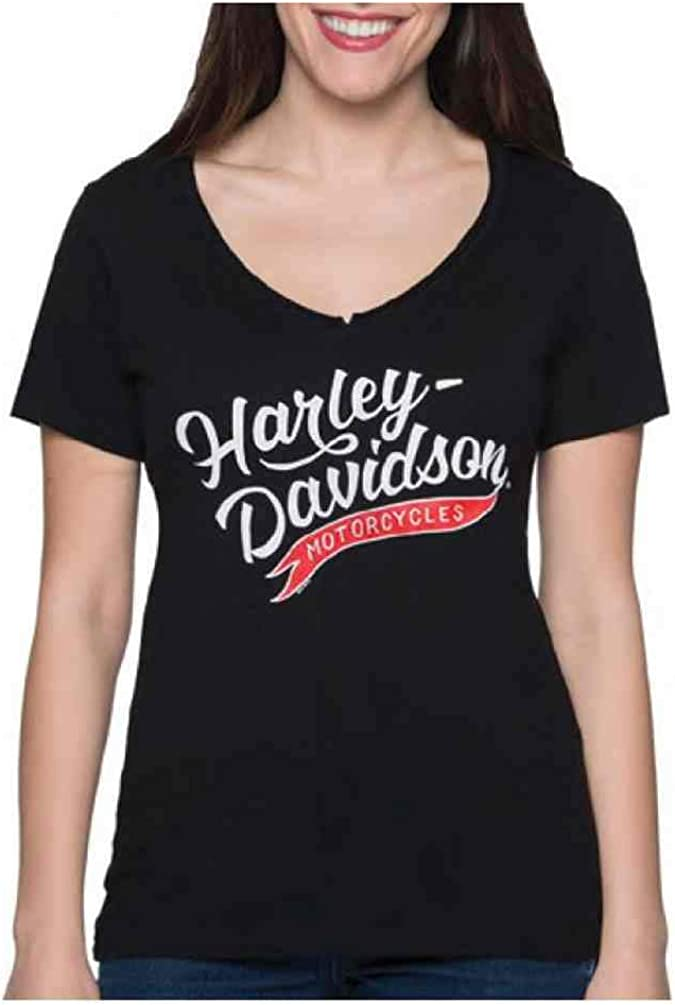 Harley-Davidson Womens Momentum H-D V-Neck Short Sleeve T-Shirt Black
