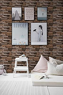 "Stone Peel and Stick Wallpaper - Self Adhesive Wallpaper - Easily Removable Wallpaper - 3D Wallpaper Stone Look – Use as Wall Paper, Contact Paper, or Shelf Paper - 17.71"" Wide x 177"" Long"