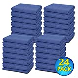 24 Moving Blankets - Deluxe Pro - 80'' x 72'' (35 lb/dz) for Protecting Furniture Professional Quilted Shipping Furniture Pads Navy Bule and Black