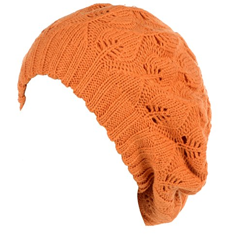 BYOS Winter Chic Warm Double Layer Leafy Cutout Crochet Knit Slouchy Beret Beanie Hat (Orange Leafy)