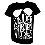 "Unique Baby Boys ""Kindergarten Vibes Only"" Back to School Shirt (6, Black)"