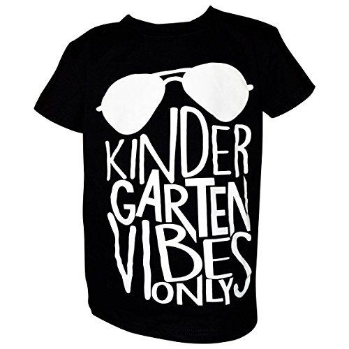"Unique Baby Boys ""Kindergarten Vibes Only"" Back to School Shirt (6, Black) (School Toddler Tee)"