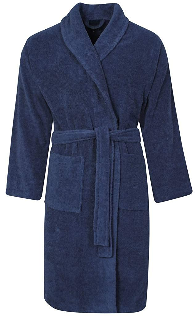 Mens Towel Dressing Gown Robe 100% Cotton Navy Blue Grey Mocha White Hotel Towelling Terry