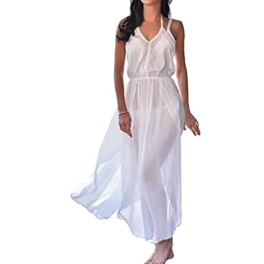 Strandkleider Damen, Longra Damen Sommerkleider Lang Maxi Kleider  Chiffonkleider Frauen V Ausschnitt Ärmellos Spaghettiträger Neckholder 7b957dcb18