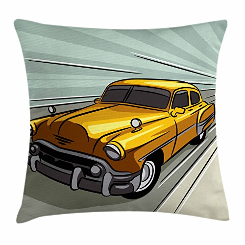 Cars Throw Pillow Cushion Cover by Ambesonne, Speeding Yellow Vintage Car on Road Fast Vehicle Action Retro Inspired, Decorative Square Accent Pillow Case, 16 X 16 Inches, Reseda Green Yellow Gray