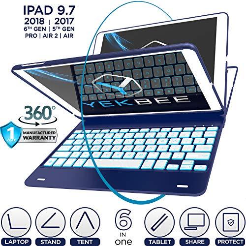 iPad Keyboard Case for iPad 2018 (6th Gen) - iPad 2017 (5th Gen) - iPad Pro 9.7 - iPad Air 2 & 1 - Thin & Light - 360 Rotatable - Wireless/BT - Backlit 10 Color - iPad Case with Keyboard (Navy Blue)