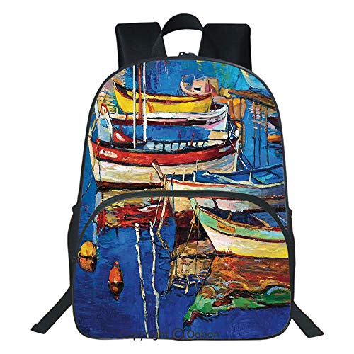 Oobon Kids Toddler School Waterproof 3D Cartoon Backpack, Mod Folk Art Style Paint of Boats on the Shore at Golden Sunset Cruising by the Sea Print, Fits 14 Inch Laptop