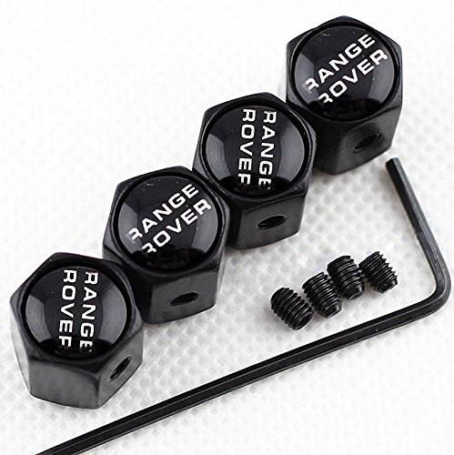 Champled New  4Pc  For Range Rover Styling Logo Metal Black Anti Theft Wheel Tire Air Valve Stem Caps Dust Cover