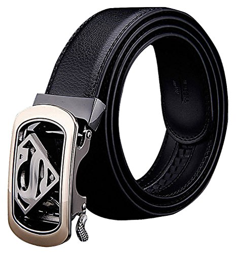 Celino Men's Luxurious Black Cowhide Superman Symbol Buckle 3.5 cm Wide Belt, ABlack One Size