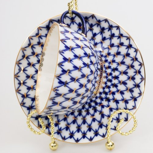 Imperial/Lomonosov Porcelain Teacup w/Saucer''Tulip Cobalt Net''